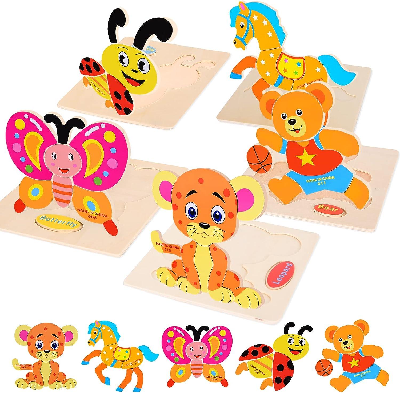 FORMIZON Puzzles de Madera, Juguetes Bebe 1 2 3 4 Años, Animales Puzzles 5 Piezas, Rompecabezas de Madera Set Montessori niños Inteligencia Juguete, Regalos de Cumpleaños Navidad para Niños (Animal)
