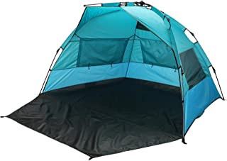 Pinty Portable Beach Sun Shade Tent, Lightweight Beach Sun Shelter for Family, Folding Quick Setup Instant Tent, Windproof Pop Up Beach Half Tent with Clip-Up Privacy Feature