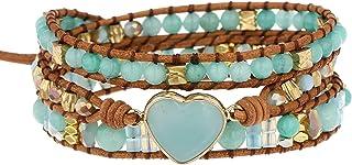 النساء أساور اليدوية للصيف الحجر الطبيعي كريستال الخرزة المنسوجة باليد شفاء التفاف سوار مجوهرات