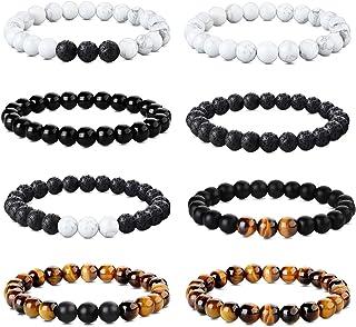 Udalyn 8 pulseras de cuentas de 8 mm para hombres y mujeres, yoga, ojo de tigre, pulseras elásticas de piedra natural