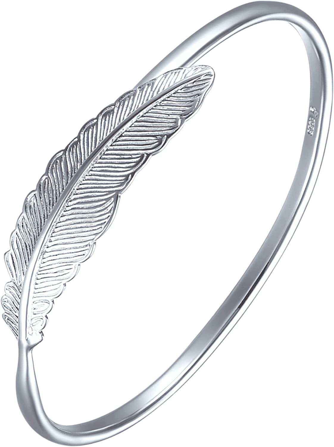 SA Direct stock discount SILVERAGE 925 Sterling Silver Bangles Feather Wo Bracelet Fresno Mall For