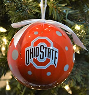 NCAA Ohio State Buckeyes Polka Dot Ball Ornament