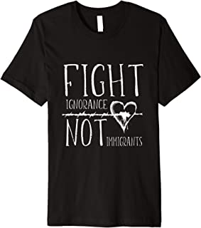 Barbed Wire Heart Fight Ignorance Not Immigrants Premium T-Shirt