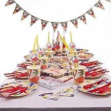 لوازم حفلات أعياد الميلاد عالية الجودة بتصميم كارتون طائر أحمر مجموعة أدوات مائدة للاستعمال مرة واحدة