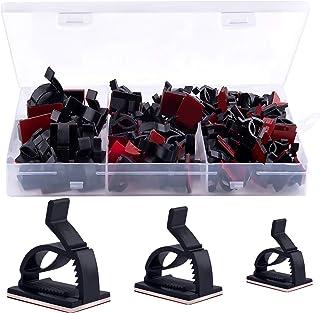 BQTQ 90 Pièces Clips de Câble Adhésif 3 Tailles Rangement de Cable pour PC TV Ordinateur Maison, Noir