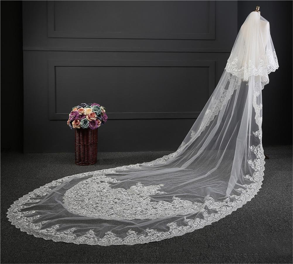 UK Bridal Wedding Veil Cathedral Long 3M White Lace Headpieces Tier With  EdgeA1