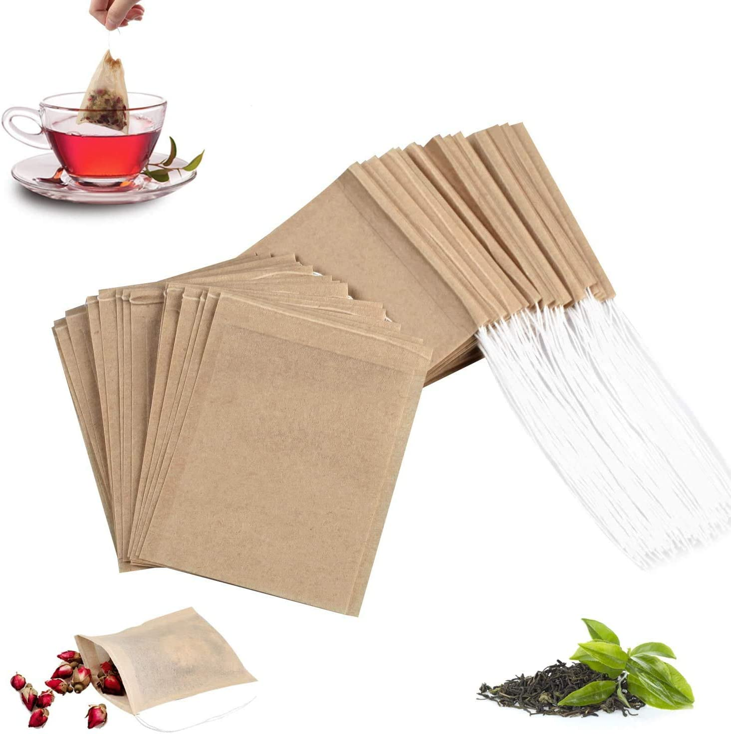 100Pcs Disposable Seattle Mall depot Tea Filter Bags with Natural Sustainable 100%