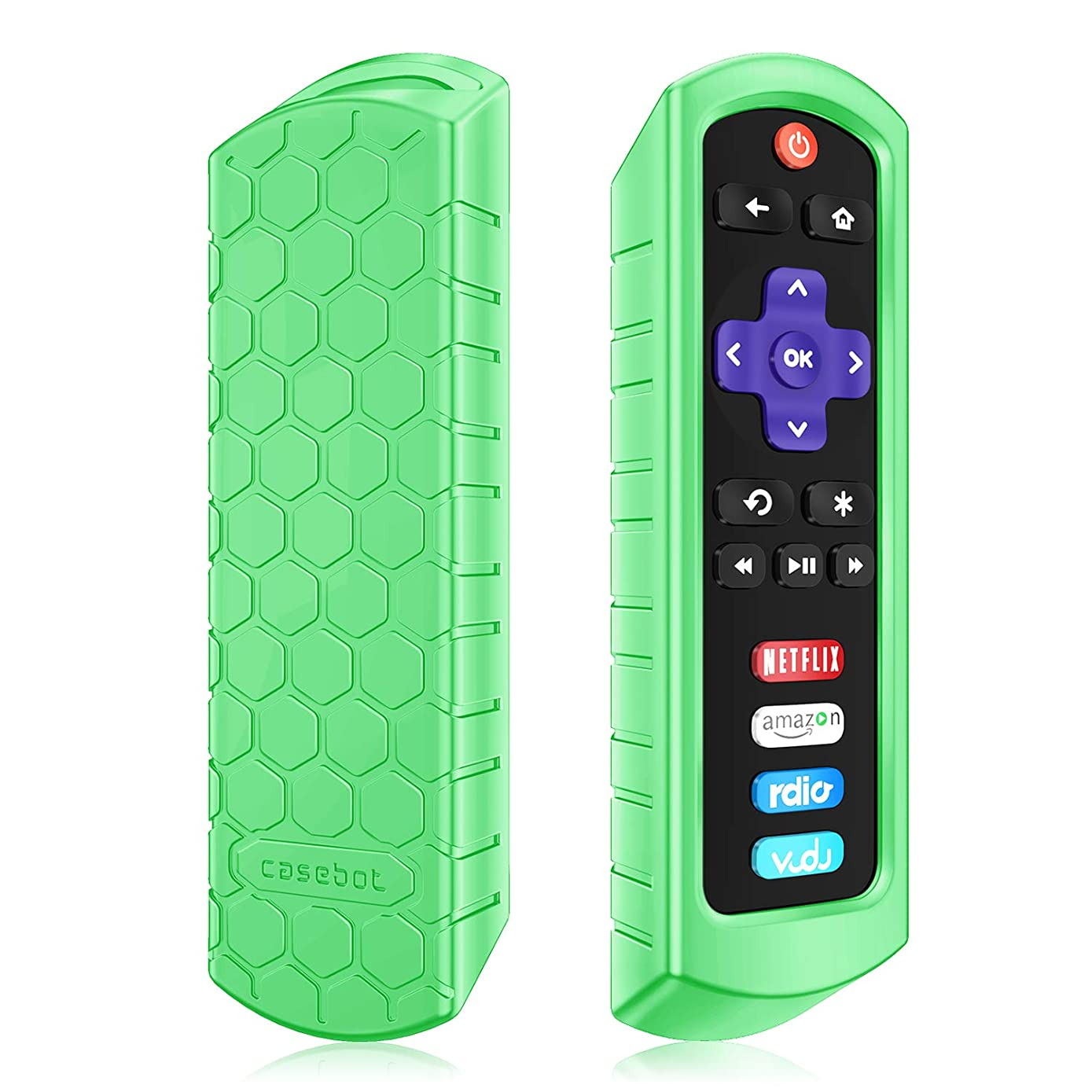 Fintie Protective Case for Roku Steaming Stick (3600R) / TCL Roku TV RC280 Remote - Casebot [Honey Comb Series] Light Weight [Anti Slip] Shock Proof Silicone Remote Controller Cover, Green Glow