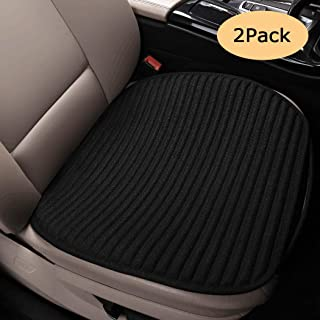 EifBrisa 2pc Breathable Car Interior Seat Cover Cushion Pad Mat for Auto Supplies Office Chair, Buckwheat Hulls Universal Bottom Seat Cover (2PC Front Seat Black)