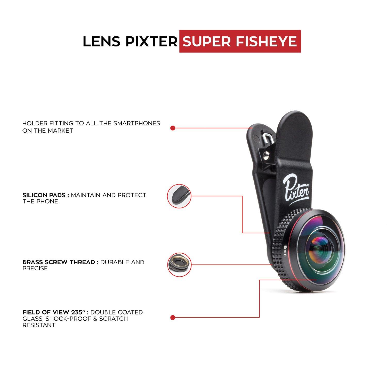 Pixter-Super-fisheye – Objetivo Super Fisheye – ángulo de Vista 238 ° – 6 Blandas – Optica Alta Transparencia – vidrios tratado y antirreflectante – Resistente Impacto y Rayas –: Amazon.es: Electrónica