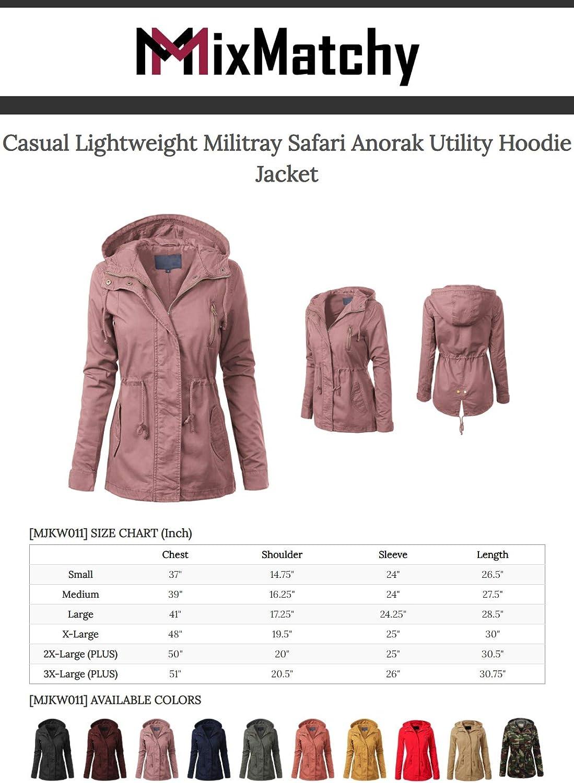 MixMatchy Women's Casual Lightweight Militray Safari Anorak Utility Hoodie Jacket
