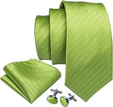 Barry.Wang Men Tie Set Solid Silk Necktie Pocket Square Cufflinks Extra Long Tie