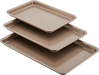Anolon 46864 3-Piece Cookie Pan Steel Baking Sheet Set, Bronze