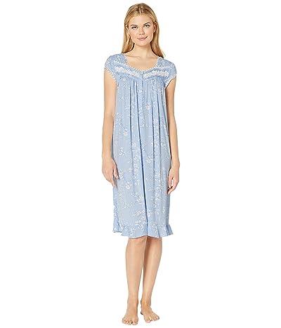 Eileen West Modal Spandex Waltz Nightgown (Light Peri Ground/Etched Floral) Women