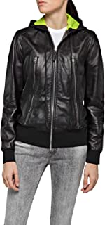 Replay Women's Leather Jacket With Hood