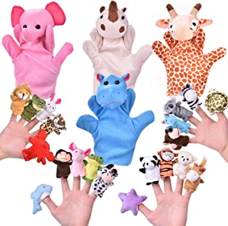 24 PCs Finger Puppets Set with 4 Animal Hand Puppets and 20 Animal Finger Puppets, Animal Plush Toys Party Favors for Kids, Goodie Bag Fillers