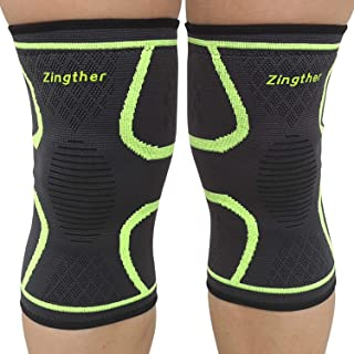 Zingther Comfortable Knee Support Brace Compression Sleeves for Arthrits Pain Relief, Powerlifting, Weightlifting, Runnin...