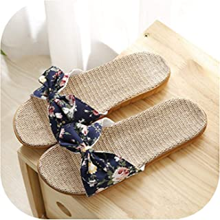Slippers Breathable Linen Flip Flops Female Casual Flax Slippers Sandals Floral Bow Indoor Shoes