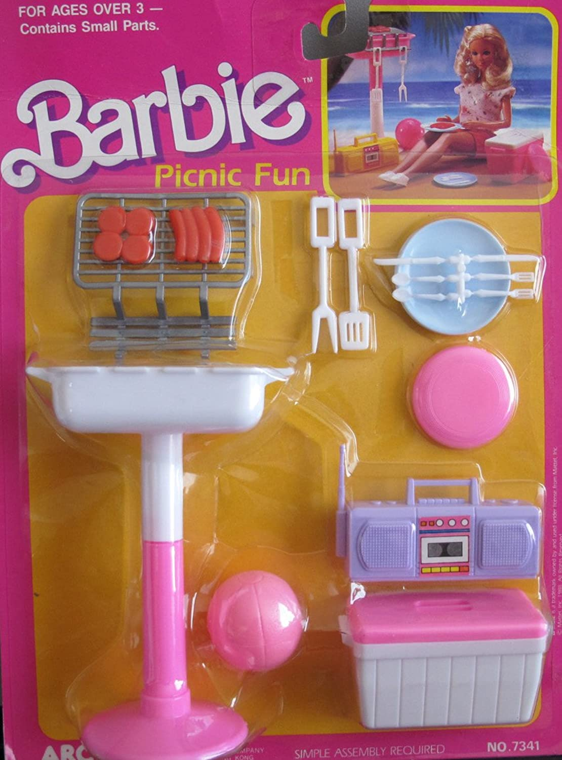 Barbie PICNIC FUN Playset w Barbecue, Food & MORE  (1988 Arco Toys, Mattel)
