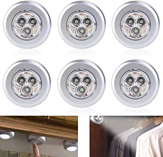Alimentadas por batería de 6pcs inalámbrica clic Stick-empuje 3-LED lámpara de luz (luz blanca)