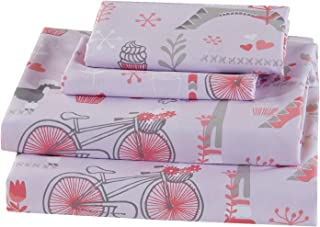 Luxury Home Collection Kids 4 Piece Full Sheet Set Paris Eiffel Tower Hearts Bicycle Poodle Cupcake Pink Grey #ParisRose (Full Sheet)