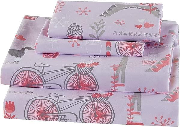 Mk Home 4pc Full Size Sheet Set For Girls Paris Eiffel Tower Light Pink Grey New
