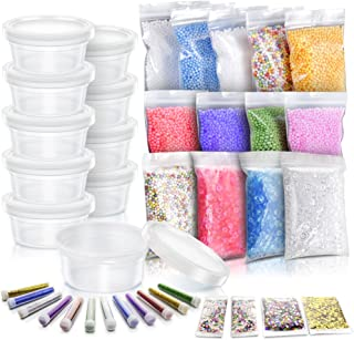 Slime Making Materials kit, Teenitor 10 pcs Slime Storage Containers and12 pcs Glitter Jars, 10 Pack Foam Beads, 3 pcs Fishibowl Beads, 2 Pack Confetti& 2 Pack Fruits Pieces for Art DIY Slime