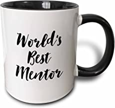 3dRose Phrase-Worlds Best Mentor Ceramic Mug, 11 oz, Black