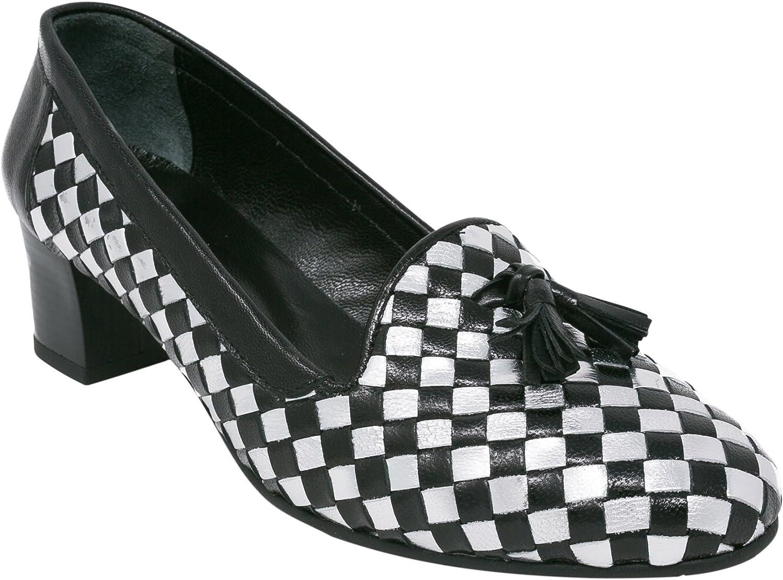 BOBERCK Woherrar Woherrar Woherrar Sweet Fringaae knut Round Toe Mid Heel skor (7, svart  silver)  upp till 50% rabatt