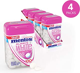 Mentos Mentos Gum Always White, Bubble Fresh, 4 Bottles, 100 Pieces Each (400 Pieces Total)
