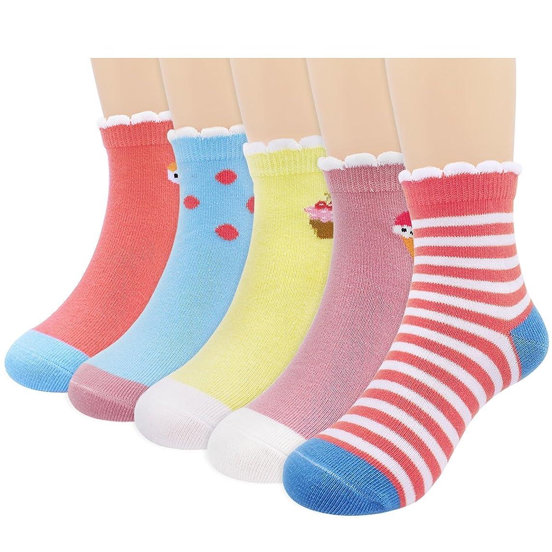Baby Toddler Little Girls' Ankle Cute Cotton Crew Socks 5 Packs