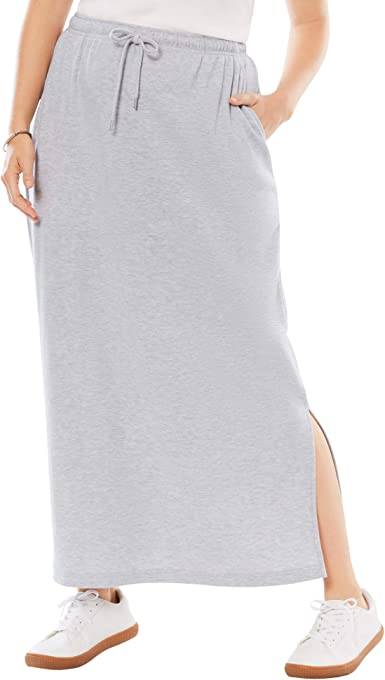 Woman Within Women's Plus Size Petite Sport Knit Side-Slit Skirt