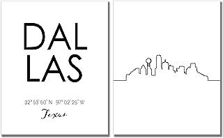 N&T Dallas City Skyline Wall Décor Prints - Set of 2 (8x10) Art Photos - Typography Minimalist Poster