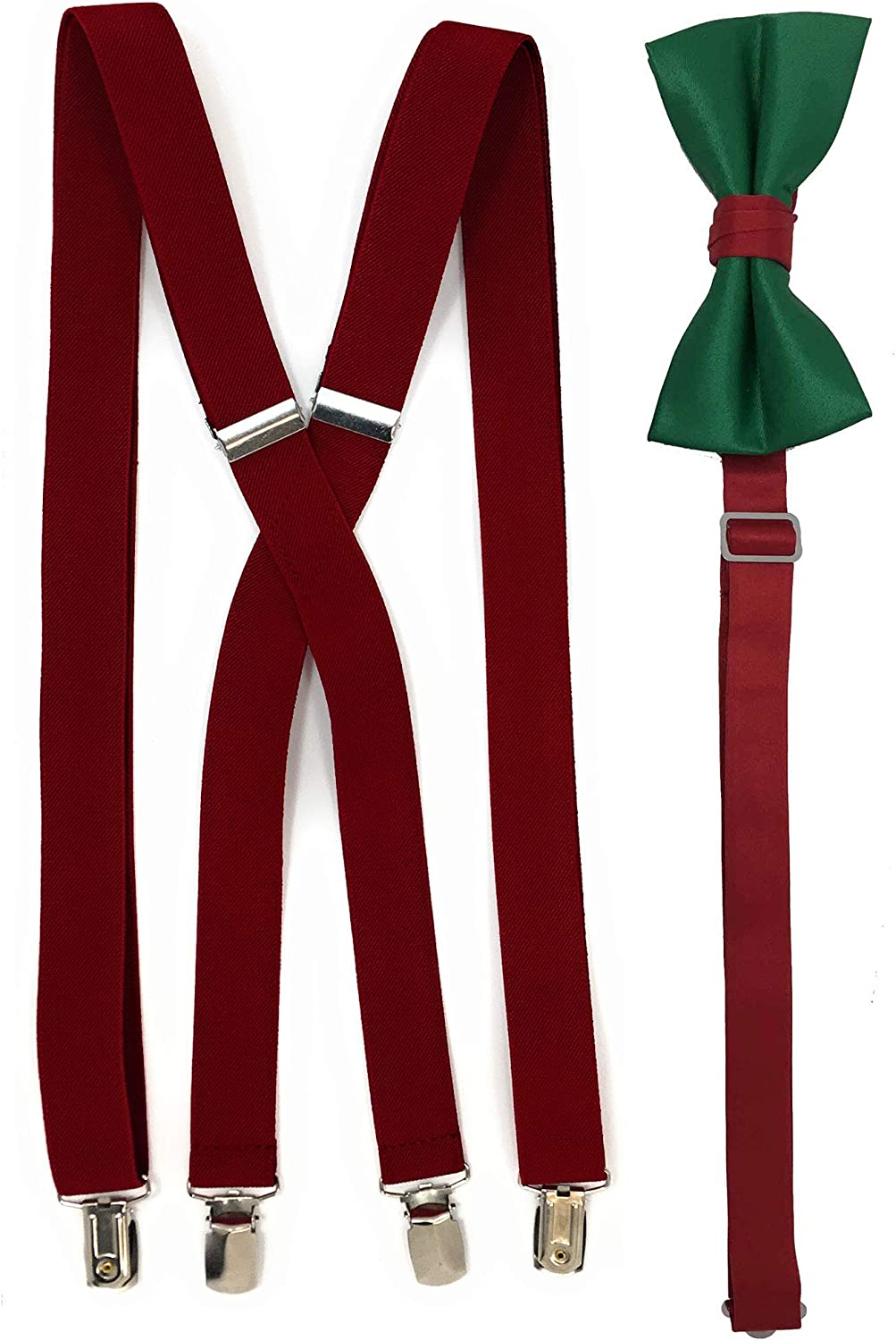 Spencer J's Men's Holiday X Back Suspenders & Bowtie Set (Red Holiday)