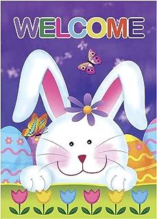 Morigins Welcome Bunny Eggs 12.5 x 18 Inch Decorative Cute Rabbit Spring Tulip Easter Garden Flag