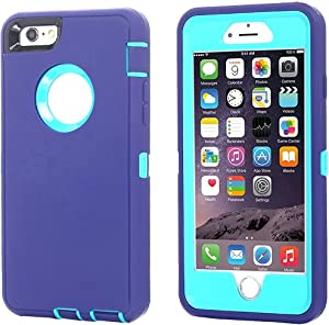 iPhone 8 Plus/7 Plus Case, AICase [Heavy Duty] [Full Body] Daul Layer Armor Shockproof Water-Proof Case with Built in Screen Protector for Apple iPhone 8 Plus/7 Plus (Light Blue/Purple+Belt Clip)