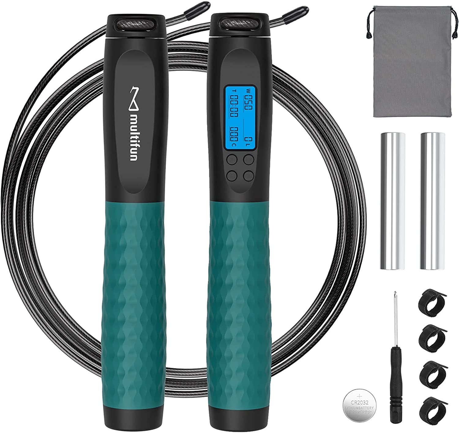 Jump Rope, Multifun Weighted Jump Rope with Counter, Workout Jumping Rope with with Steel Ball Bearings, Heavy Handles, Adjustable Length Speed Skipping Rope for Men Women Kids Fitness Exercise : Everything Else
