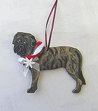 Hand-Painted ENGLISH MASTIFF BRINDLE w/Bow Wood Christmas Ornament Artist Original