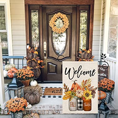 CROWNED BEAUTY Fall Welcome Garden Flag Floral Thankful 12×18 Inch Double Sided Vertical Rustic Farmhouse Yard Seasonal Holid