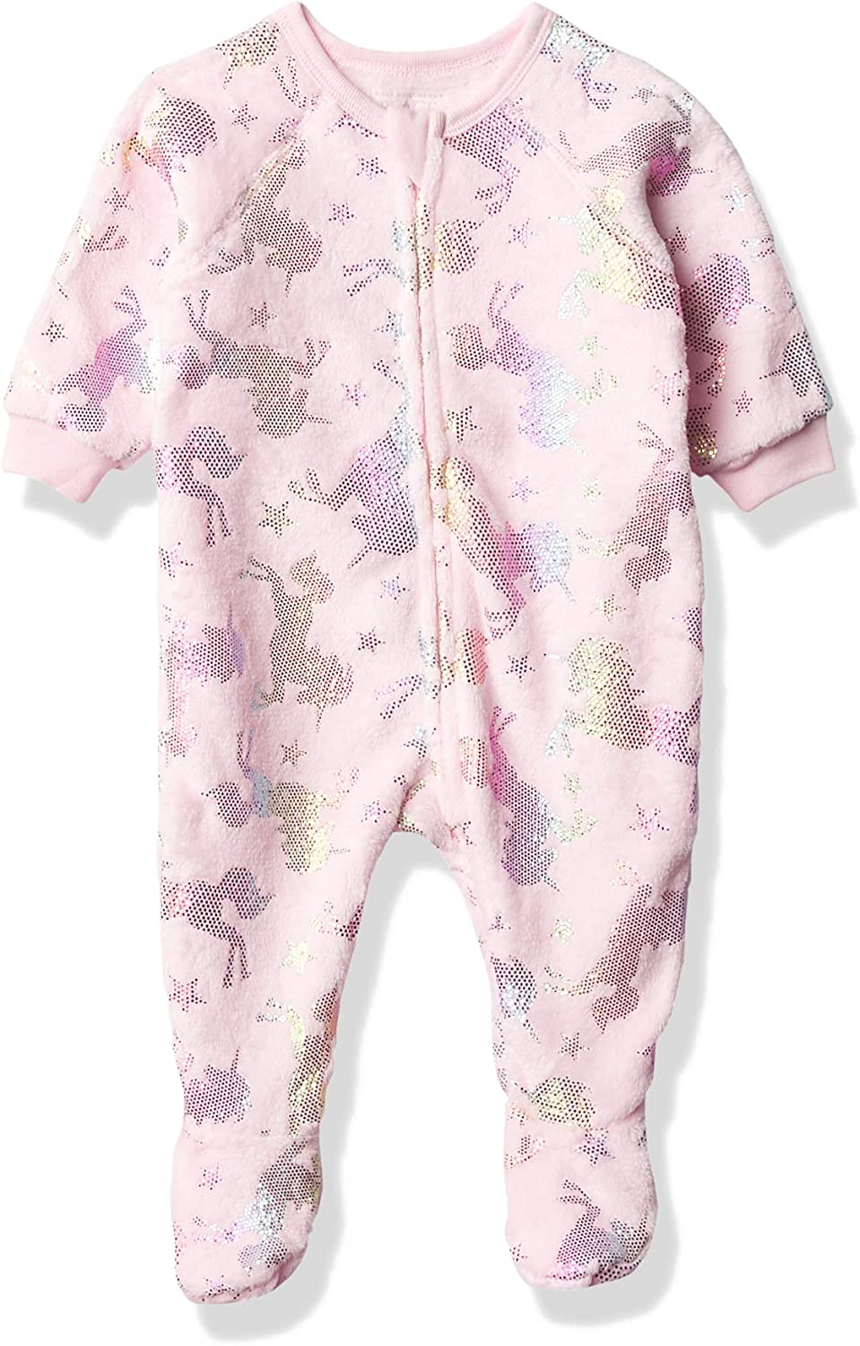 The Children's Place Girls' Baby and Toddler Foil Unicorn Fleece One Piece Pajamas