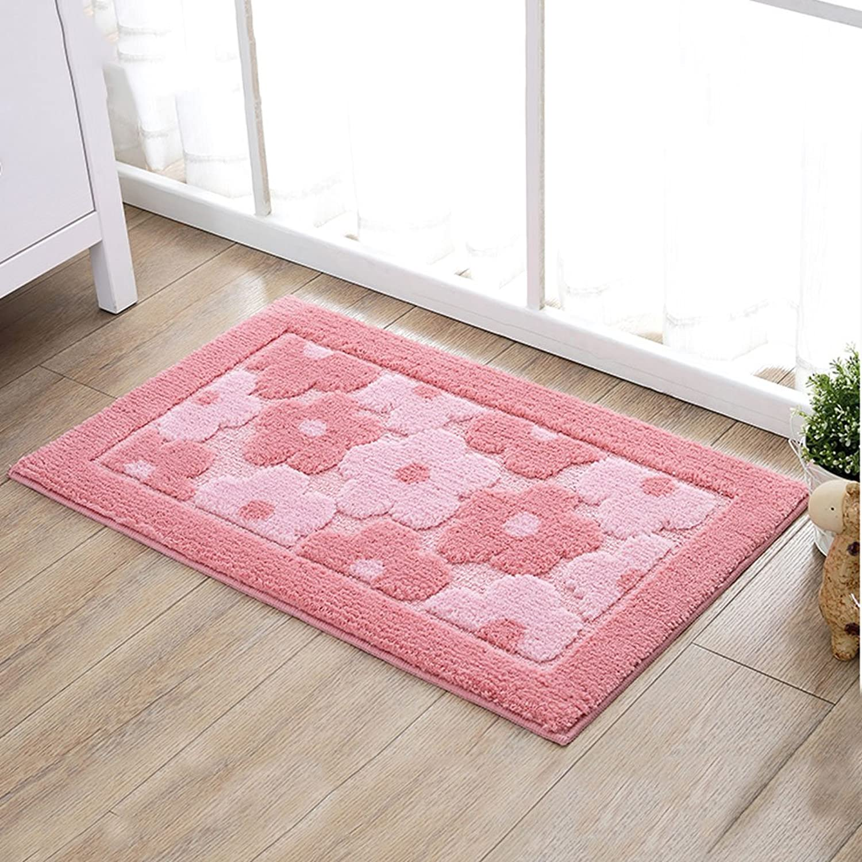 Modern Minimalist Bedroom Carpet Microfiber Soft, Absorbent Non-Slip Bath Mats Door Mats (Pink) (Size   45  70CM)