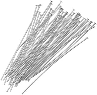 Beadaholique Silver Plated Head Pins 1.5 Inches 24 Gauge (50 Pieces) Headpin