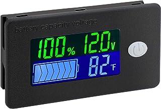Battery Capacity Monitor, DROK 10-100v Battery Meter, 12v 24v 48v Battery Power Percentage Voltage Fahrenheit Temperature ...