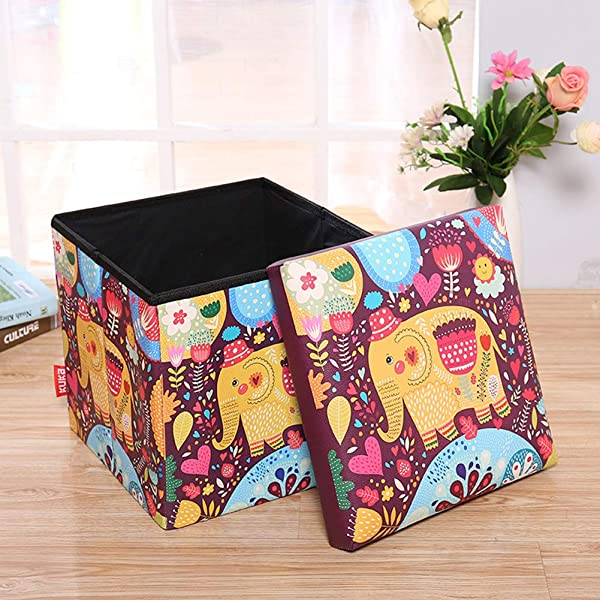 Folding Storage Ottoman Cubes With Foam Cushion Seat Waterproof Foot Rest Stools For Kids Adorable Vintage Elephant 12 Inches