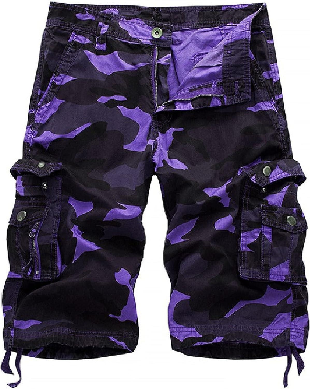 Segindy Men's Stitching Pockets Cargo Shorts Fashion Camouflage Printing Casual