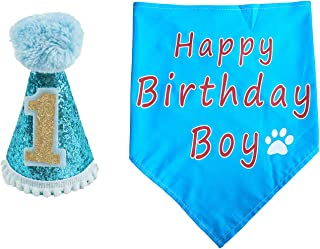 PET SHOW Dogs 1st Birthday Hats and Bandanas Set Cats 1-Year-Old Photo Props Party Costume Grooming Accessories
