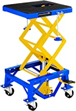 MSW MHB-135-PRO Elevador Tijera Elevador Moto Caballete Hidraulico con Rueditas (135 kg, 4 Ruedas, Altura 35–87 cm, Plataforma 41x35 cm, Acero)