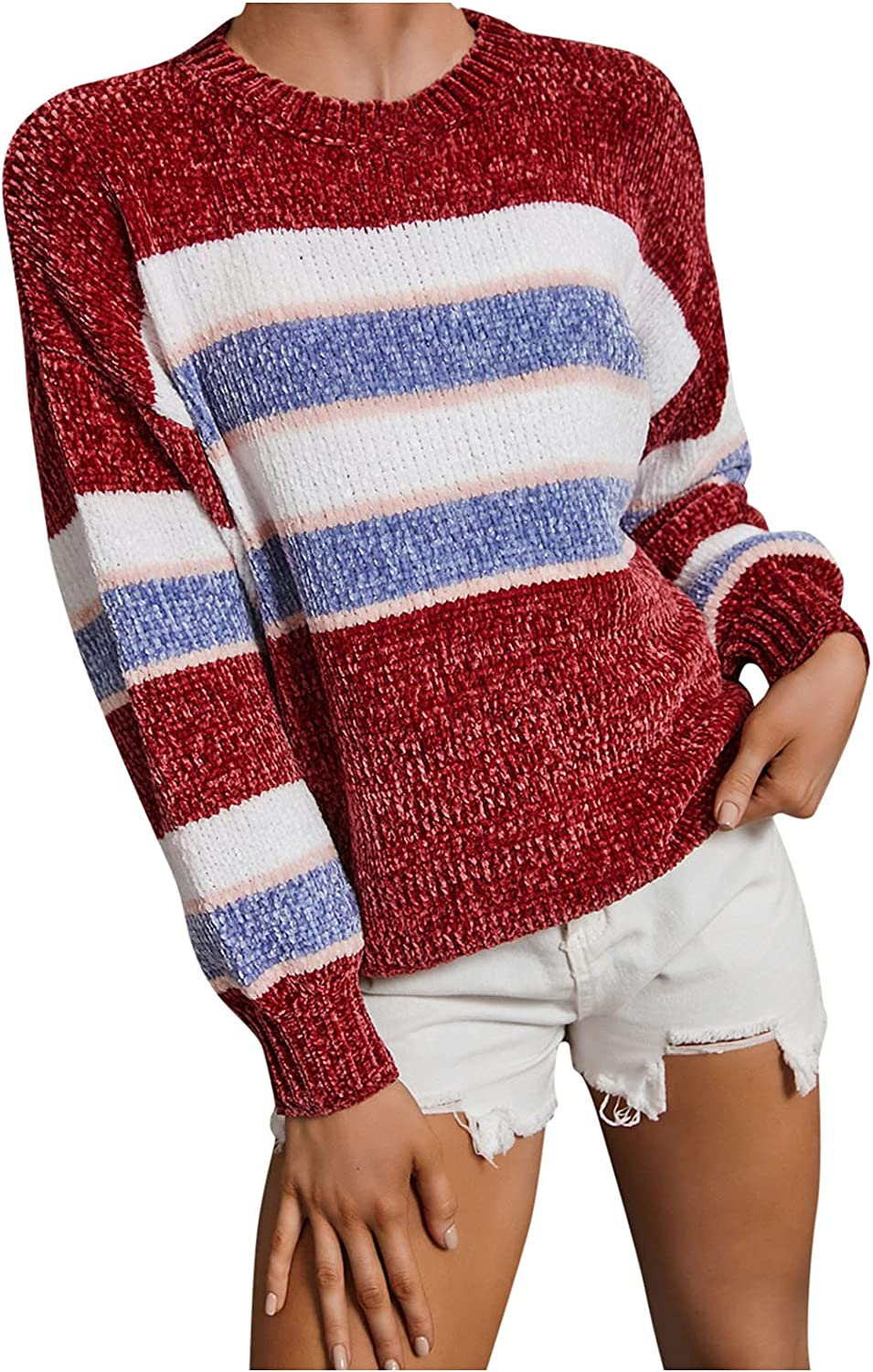 Ugly Finally resale start Christmas Sweaters for Women Casual C Max 84% OFF Loose Red Color Block