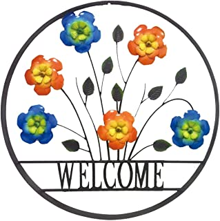 BACKYARD EXPRESSIONS PATIO · HOME · GARDEN 906675 Decorative Outdoor Floral Welcome Wheel Art Wall Sign