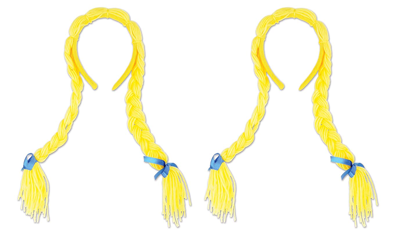 Beistle 52325 Pigtail Braids 2 Piece, OSFM, Yellow/Blue